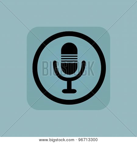 Pale blue microphone sign