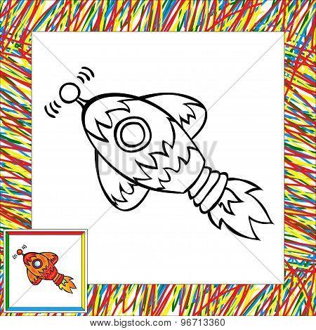 Cartoon Rocket (first). Coloring Book