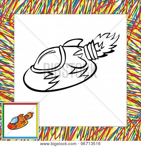 Cartoon Rocket (second). Coloring Book