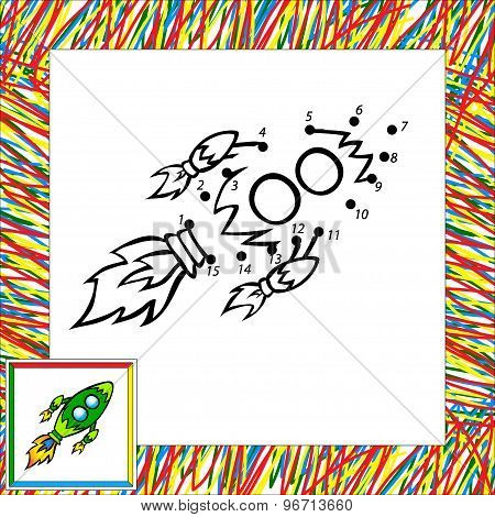 Cartoon Rocket (third). Dot To Dot