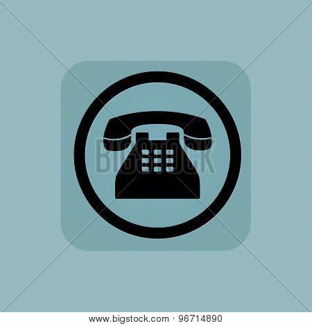 Pale blue phone sign