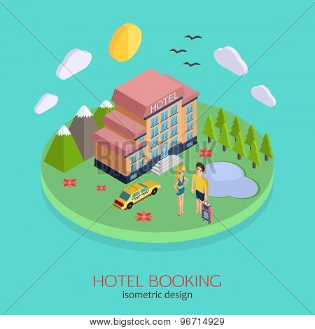 Hotel booking 3d isometric design concept.