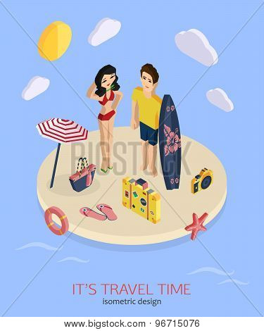 It's travel time 3d isometric pixel design concept with man and woman standing on the beach.