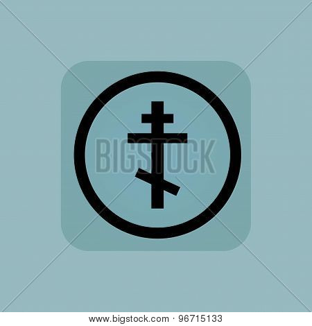 Pale blue orthodox cross sign