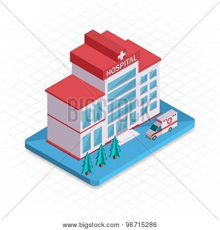Hospital building. Isometric 3d pixel design icon.