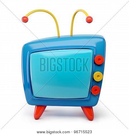 3D Tv Cartoon Isolated On White