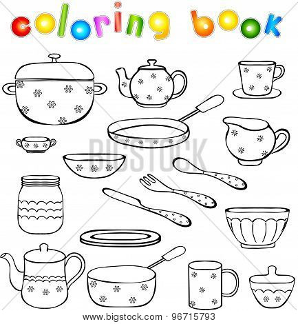Tableware And Kitchenware Coloring Book