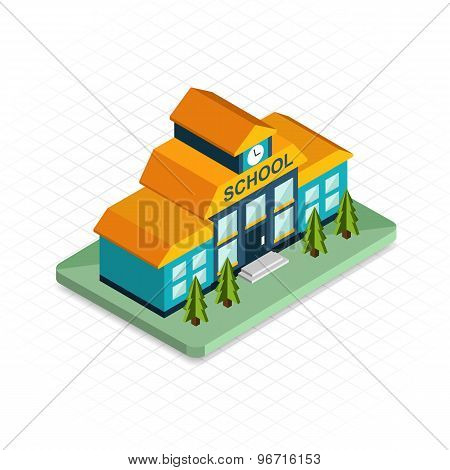 School building. Isometric 3d pixel design icon. Modern flat design.