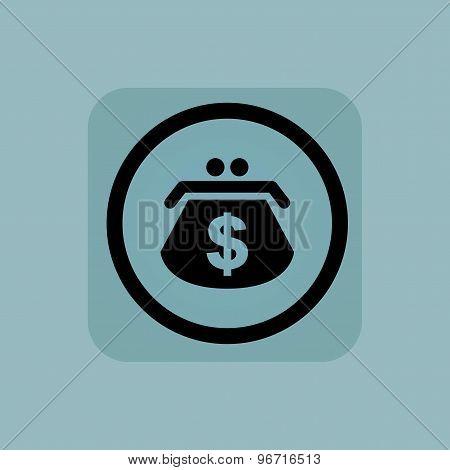 Pale blue dollar purse sign
