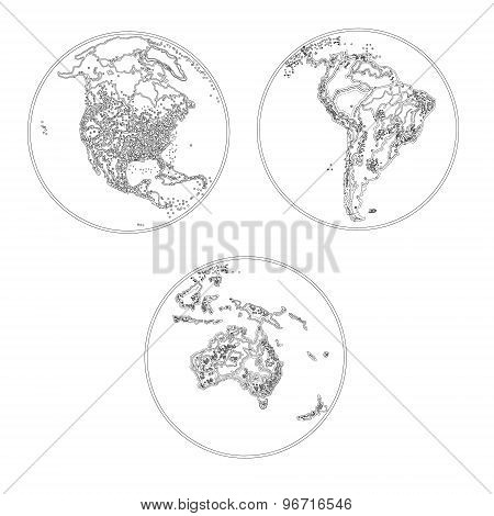 Globes Scheme Settlements North America South America And Australia vector