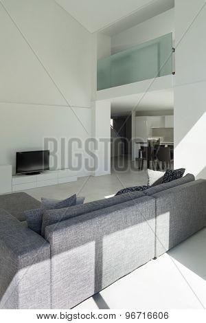 architecture, interior modern living room, back view divan