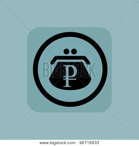 Pale blue ruble purse sign