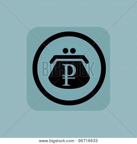 Pale blue ruble purse sign