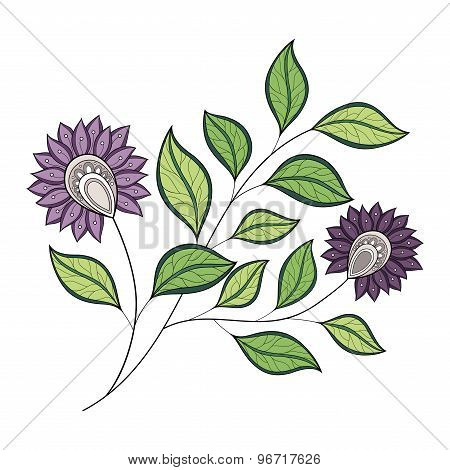 Vector Beautiful Colored Contour Flower