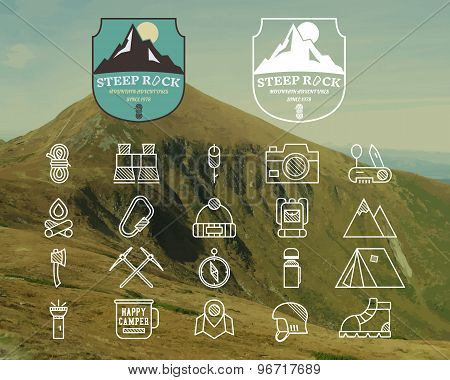 Set Of Summer Mountain Camp Badge, Logo And Label And Line Icon Templates. Travel, Hiking, Climbing