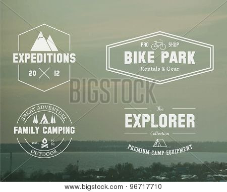 Set Of Summer Explorer, Family Camp Badge, Logo And Label Templates. Travel, Hiking, Biking Style. O