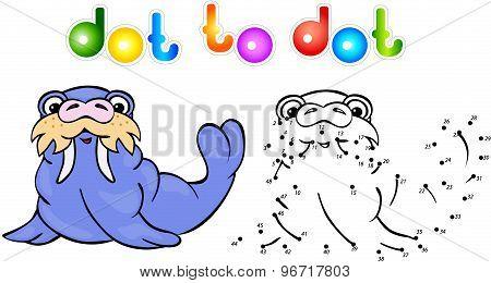 Funny Cartoon Walrus Dot To Dot