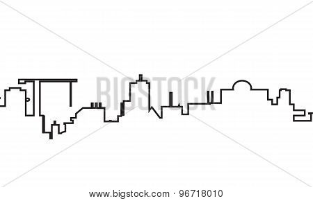 silhouette of town