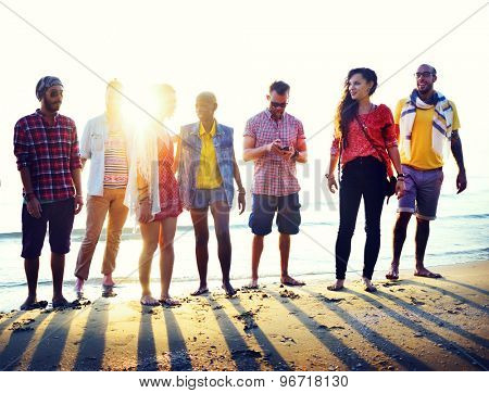 Diverse Beach Summer Friends Fun Bonding Concept