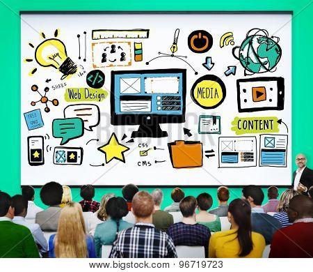 Web Design Media Content Light Bulb Inspiration Concept