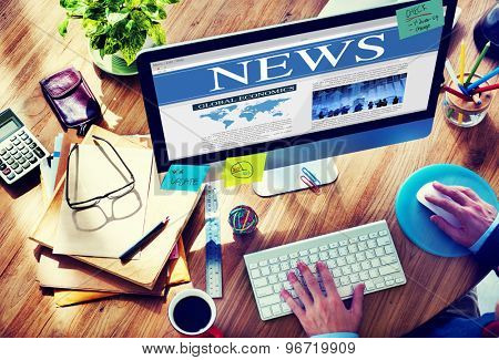 News Browsing Business Technology Wireless Computer Connecting Concept
