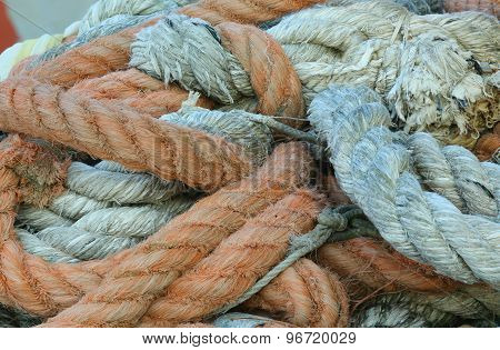 Robust Ropes Used By Fishermen To Moor The Boat