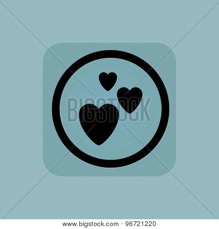Pale blue love sign