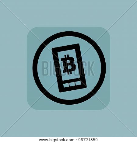 Pale blue bitcoin screen sign