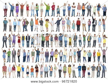 People Diversity Success Celebration Happiness Community Crowd Concept