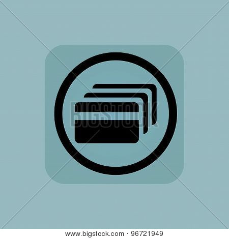 Pale blue credit card sign