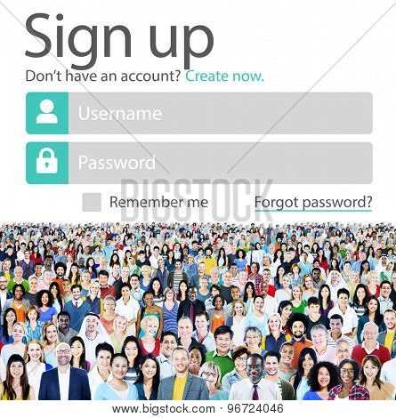 Sign Up User Name Password Log In Protection Concept