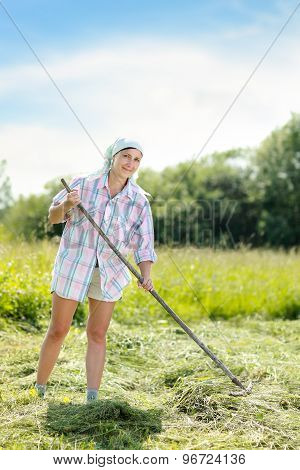 woman on a haymaking
