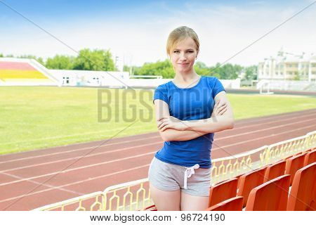 girl taking exercise outdoors