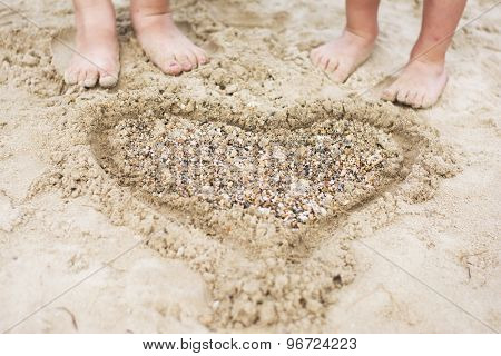 Heart In The Sand And Feet