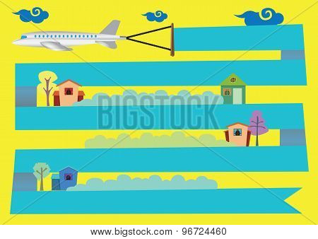Airplane With Banner Flying Over Houses Vector Cartoon Illustration