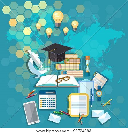 International Education, Student Desk, Youth, University, College, School, vector illustration