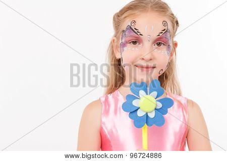 Nice girl holding paper flower
