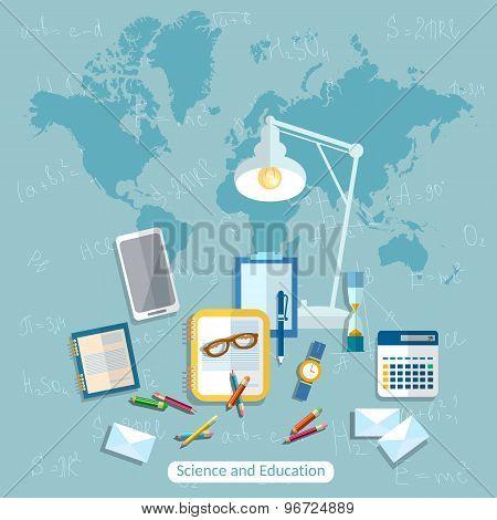 Education:online Learning, Student, School Desk, International, College, School, University,vector