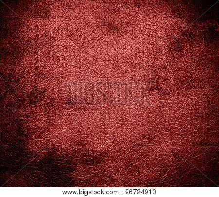 Grunge background of deep chestnut leather texture