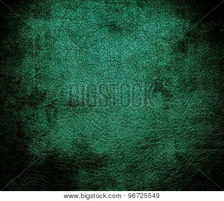 Grunge background of deep green-cyan turquoise leather texture