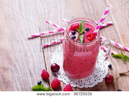Smoothie With Summer Berries And Fruits In A Glass Mug