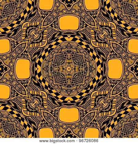Seamless pattern from abstract  ornament black orange