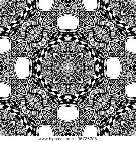 Seamless Patter Seamless pattern from abstract  ornament black white