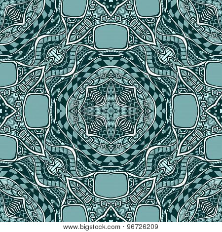Seamless pattern from abstract  ornament marine blue