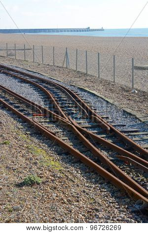 Railway Tracks On Brighton Beach. England