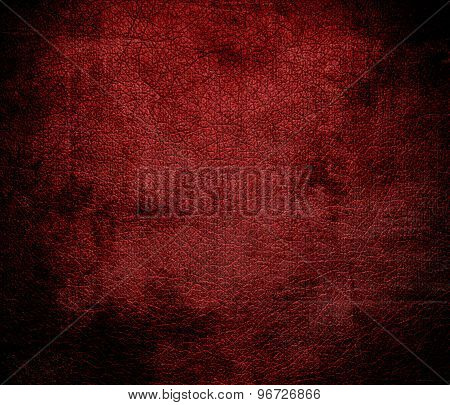 Grunge background of deep red leather texture