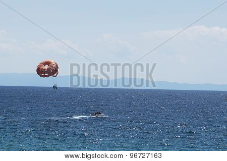 Parasailing Boat In The Sea