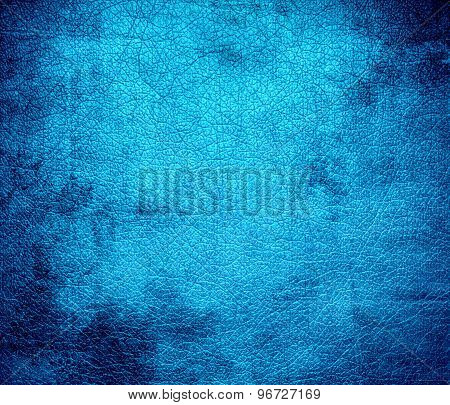 Grunge background of deep sky blue leather texture