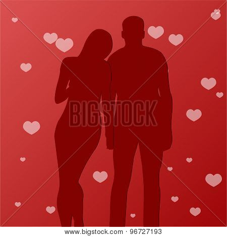 Illustration silhouette of lovers embracing