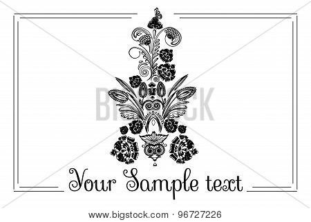 drawing banner with floral ornament